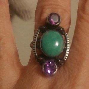Women's touquoise and amethyst ring